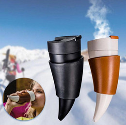 Wholesale Horn Cups Wholesale - Goat Horns Shaped Coffee Mug 230ML Insulation Vacuum Thermos Cup Flask Drinkware Water Bottle Traveling Cup