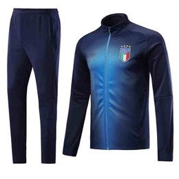 Wholesale Italy Trains - AAA+ 2018 Mens Italy Training Tracksuit Jacket Mens 18 19 Italy Soccer Jacket Suit Set Soccer Tracksuit Black Pants Sportwear