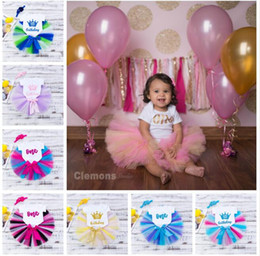 Wholesale cm birthday - 18 styles Ins Birthday romper Summer baby Sleeveless O-neck Colorful Romper + tutu Skirt + headband Climb summer romper rainbow sets DHL