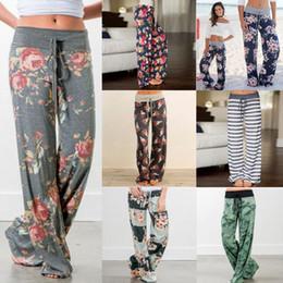 Wholesale wide legged pants for women - elastic waist floral wide leg pants loose Elastic Waist pants drawstring Straight Trousers Long pants for women Maternity Bottoms