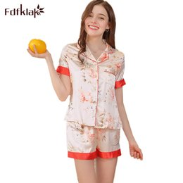 2 Stücke Frauen Seide Nachtwäsche Nachthemd Kurzarm Hemd Shorts Hosen Pyjamas