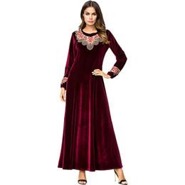 Bordar vestido floral das mulheres on-line-Babalet das mulheres elegante muçulmano dress islâmico dubai dress floral bordado veludo manga comprida maxi arab abaya solto borgonha