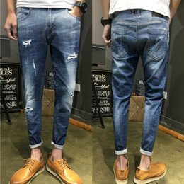 Wholesale Korean Jeans Pants For Men - MIXCUBIC 2018 spring summer Korean style ripped hole jeans for men casual Micro-stretched Scratched feet jeans men,28-36