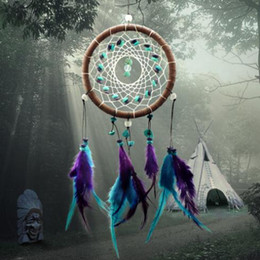 Wholesale Turquoise Purple Decorations - New Turquoise dream catcher pure handicraft purple and blue dreamcatcher home or car creative decoration graduation gift