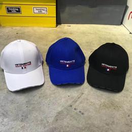 Berretti francesi online-Blu ricamo bandiera della Francia DHL Vetements cappello Berretto da baseball migliore qualità di modo Vetements Cap estate delle donne