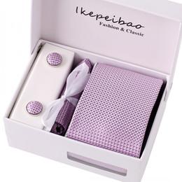 Wholesale necktie hanky cuff - Ikepeibao Men's Purple Dots Formal Necktie Handkerchief Cuff links Corbatas Gravatas Ties Sets for Men Business