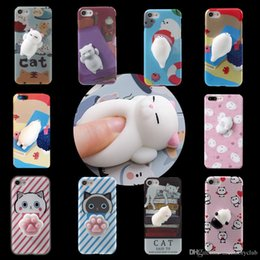 Wholesale 3d panda iphone case - 2017 Kawaii New 3D Squeeze Cat Seal Panda Silicon Lovely Cellphone Case for iPhone 7 iPhone 6 6S Plus Squeeze Stretchy Toy Phone Skin Cover