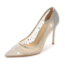 5dd9544d0293 Free shipping Fashion women Nude mesh crystal strass point toe wedding shoes  high heels thin heeled shoes pumps genuine leather 100mm 80mm