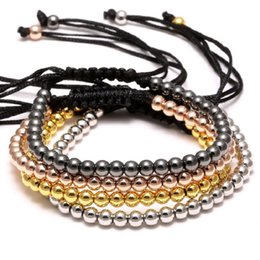 Wholesale 14k Gold Beads 4mm - adjustable Zircon inlaid Copper beads bracelets 2018 new statement jewelry Fashion Wholesale couples 4mm beads Bracelet bangles for women