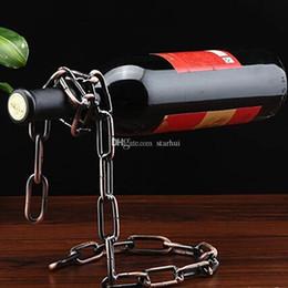держатели для свободно стоящих чулок Скидка Творческий цепь кольцо винный шкаф волшебный подвесной свободный стенд цепи держатель вина металла ремесла домашнего декора в наличии WX-C49
