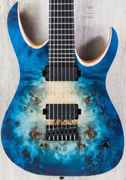 Ebano nero stringa online-Rare 7 corde Mayones Duell QATSI blu naturale scoppio occhio pioppo superiore chitarra elettrica 5 strati collo tastiera in ebano, hardware nero vendita superiore