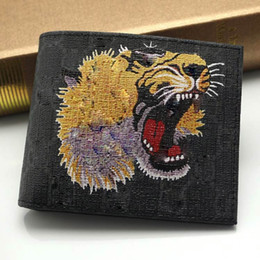 Wholesale Tiger Leather Case - New men's new fashion GGGCCCI genuine leather business card case bag bengal tiger print black short wallet casual card holder pocket