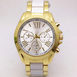 Wholesale Michael Watch Men - Luxury Watch Man Fashion Casual Stainless Steel Geneva Watch Gold Silver High End Business Mens Crystal Watch for Wens michael