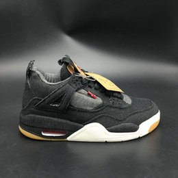 Wholesale denim down - 2018 4 4S men Basketball Shoes Denim Jean Joint New Trend Best Quality Mens Black Sports Sneakers Trainers Size 7-13