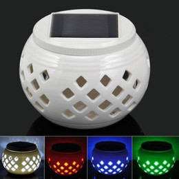 Wholesale Ceramic Table Lights - Wholesale- 10x New Color change  White Led Ceramic Solar Filigree Patterns Table Light Garden Lamp