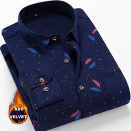 f993ca092e3 New Add Velvet Men Shirt Autumn And Winter Thick Long Sleeve Ptinted Shirt  Men Plus Size 3XL 4XL Mens Shirts Casual Slim Fit velvet collar shirt men  on sale