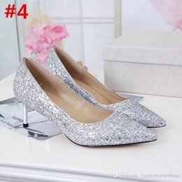 Wholesale black gold glitter pumps - 2018 Fashion Ladies Jimm Genuine leather Choo Romy Gold Glitter Pointed Toe Pump Mirror Heel Shoes With Box