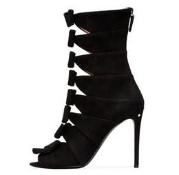 Colpo di bowtie online-Multi Bowtie Sandali gladiatore Stivali a farfalla nodo Thin Spike Tacchi alti Primavera Autunno Donna Peep Toe Shoes Plus Size 13