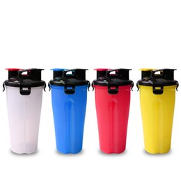 Wholesale used half - Practical Dual Use Dog Food Water Bottles With Collapsible Bowl For Outdoor Walk Pets Portable Half Separate Creative Feeders 18 62tt Z