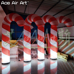 Noel tatil parti Advertisin dekorasyon, dev şişme şeker kamışı modeli, sütun ve taban ile fan şeritler Ace Air sanat tarafından satışa nereden