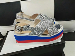 Wholesale Ladies Sequin Shoes - luxury brand women designer sandals Embroidered velvet sequins waterproof bee star with top quality fashion lady shoes for summer size 35-41