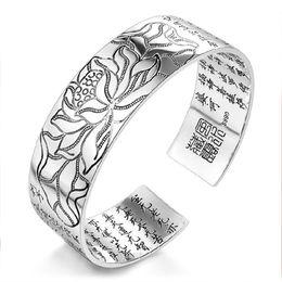Vintage brassard en argent mantra bracelet hommes coeur soutra bracelet jonc fleur de lotus braclet bouddhisme tibétain bijoux ethniques ? partir de fabricateur