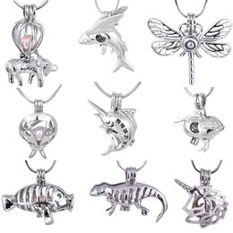Wholesale Fish Pendant Gold Filled - Hot Sale 9 Styles For Choose Silver Cage Pendant Dragonfly Fish Dinosaur Goat Unicorn Charm Pendants Mountings Fashion Gifts 20 pcs lot T9