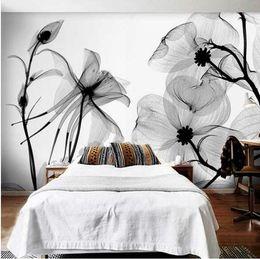 Foto di fiori astratti online-Black White flower 3D Abstract Photo Mural Rivestimenti murali Sfondi Murales Carta da parati Rotolo Camera da letto Decorazione della parete Personalizzata Qualsiasi dimensione