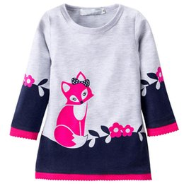 Wholesale Wear Sweater Dress - Kids Winter Warm Dress Fashion Girl A-line fox Sweater Dresses Knitted Long sleeve O Neck Children Clothing Party Wear Dress 2-6