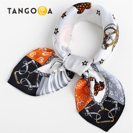 Wholesale Horse Silk Scarf Square - Small Square Natural Mulberry Women Silk Scarves Luxury Brand Carriage Chain Horse Woman Neck Scarf for Bags Bandana Hijab