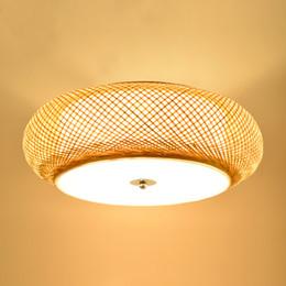 Антикварные потолочные светильники онлайн-Бамбук ткачество светильник круглый потолочные светильники ротанга сада светодиодные лампы гостиной старинных светильник татами спальня исследование потолочный светильник
