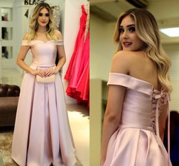 Wholesale Light Up Pink Ribbon - New Gorgeous Pink Off the Shoulder Prom Dresses 2018 Satin Short Sleeves Evening Dresses With Lace Up Back Party Gowns Floor Length Cheap