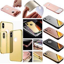 Wholesale iphone aluminium metal bumper - Luxury Acrylic Mirror Aluminium Metal Bumper Case For iPhone X 8 7 6 5 SE Samsung S6 S7 Edge S8 Plus Note Note8 A3 A5 A7 2017 J1 J5 J7