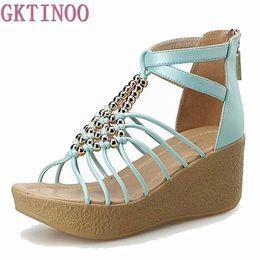 Wholesale high strung beads - Women Shoes 2018 Women's Sandals String Bead Wedges Sandals Women Narrow Band Gladiator