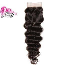 Wholesale 4x4 Swiss Lace Closure - Beauty Forever Brazilian Hair Natural Wave Lace Closure Free Part 10-20inch 100% Human Hair 4x4 Lace Closures 1Piece Virgin Hair Swiss Lace