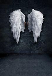 2019 fundos da fotografia da parede da cor Laeacco Old White Wings Parede De Cor Escura Tijolo Piso Fotografia Fundos Backdrops Fotográficos Personalizados Para Estúdio de Fotografia fundos da fotografia da parede da cor barato