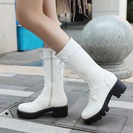 ec1cfe67badcbe Femmes Confortable Talon Bas Plate-Forme Mi-Mollet Bottes De Mode Zipper  Cross Attaché Automne Hiver Chaussures Noir Blanc Marron bottes noires  chaussures ...