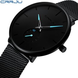 ультра тонкие мужские часы Скидка Crrju Top  Watches Men Stainless Steel Ultra Thin Watches Men Classic Quartz Men's Wrist Watch Relogio Masculino