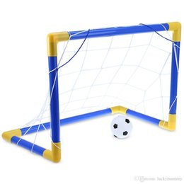 Wholesale Games Posts - Folding Mini Football Soccer Goal Post Net Set with Pump Kids Sport Indoor Outdoor Games Toys Child Birthday Gift Plastic +NB