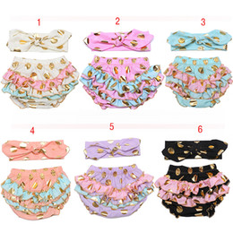 Wholesale wholesale skinny headbands - New Baby INS gilding Dot pp pants cute infant shorts pants+bow headband 2pcs set Kids Briefs summer Bread pants free shipping 12colors C1058