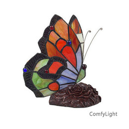 Wholesale art glass table lamps - Stained Glass Butterfly Table Lamps Art Creative Tiffanylamp Living Room Bedside Lamp Decor Art Glass LED Table night Light