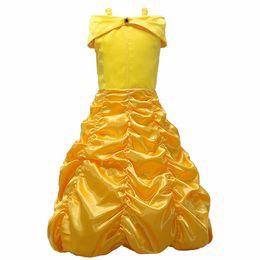 Wholesale Fund Wholesaler - Kids Girl Princess Dressesh One Shoulder Long Fund Princess Full Dress Halloween Beauty And Beast Dance Show Clothes