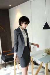 Wholesale Women Jackets For Work - Formal Female Women Skirt Suits With Jackets And Skirt For Women Business Work Wear Female Office Uniform Designs Blazers Sets