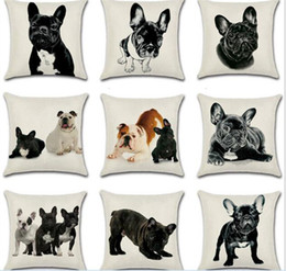 Wholesale french sofas - 20pcs 9styles French bulldog Dog Pillow Case Cushion cover Linen Cotton Throw Pillowcases sofa Bed Pillow covers C172