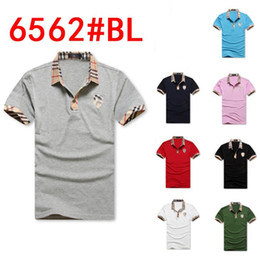 Wholesale embroidery garment - Direct selling 6562 # 2018 new men POLO unlined upper garment of high quality men's lapels Fashion embroidery short sleeve T-shirt free ship
