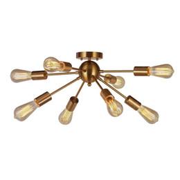 8-Light Sputnik Chandelier Bronceado Semi Flush Mount Lámpara de techo moderna para cocina Baño Comedor Dormitorio Habitación Pasillo desde fabricantes