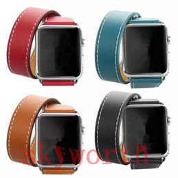 Wholesale Red Wrist Strap - Double Round Real Genuine Leather Watch Band For Apple Watch Band Wrist Strap Bracelet Watchband With Adapters