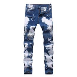 Calças homens rap on-line-New Rasgado Homens Estiramento Motociclista Jeans Jeans Slim Calças Da Motocicleta Homens Clássico Rap Hip Hop Calças Jeans Skinny Designer Men