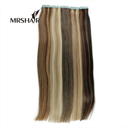 Wholesale Tape Hair Extensions Mix Color - MRSHAIR Remy Tape In Hair Extensions Mixed Color Hair On Adhesives 20pcs Double Sided Tape Skin Weft Hair Extensions