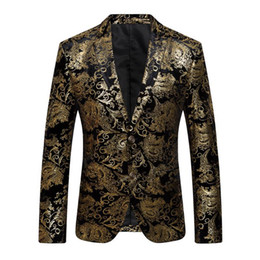 Wholesale Male Blazers - 2018 New Male Floral Jacket Suit Mens Blazers Fashion Single Button Suits Slim Fit Party Blazers Plus Size M-4XL
